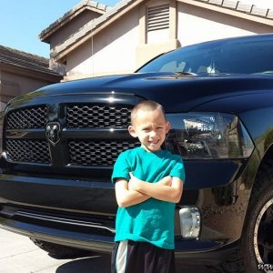 My son in front of my truck